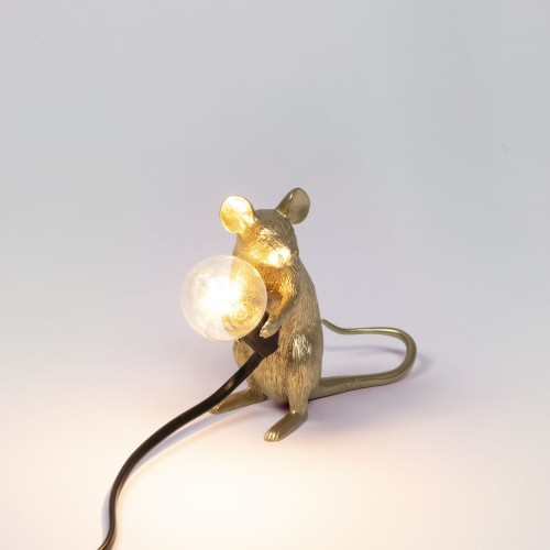 Lampe mouse sitting gold